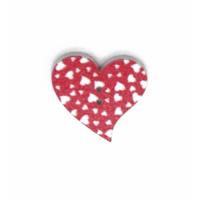Деревянная пуговица Сердце красное с белыми сердечками