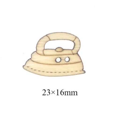 Деревянная пуговица Утюг, 23х16 мм