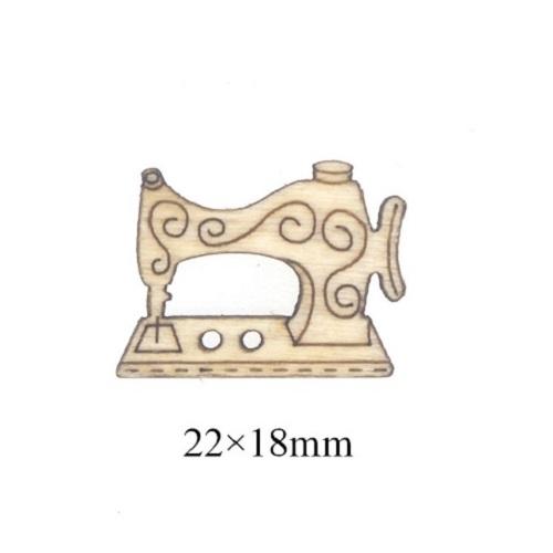 Деревянная пуговица Швейная машинка, 22х18 мм