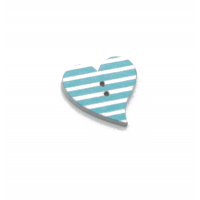 Деревянная пуговица Сердце голубое с белыми полосками