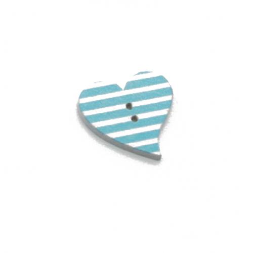 Деревянная пуговица Сердце голубое с белыми полосками фото