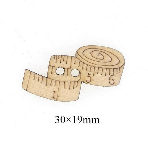 Деревянная пуговица Метр, 30х19 мм