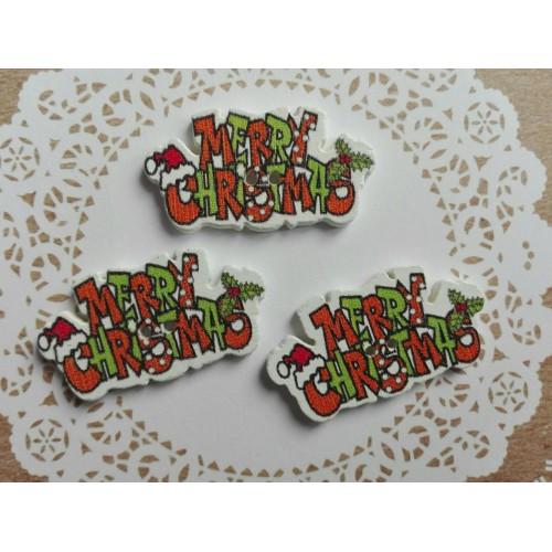 купить пуговицы деревянные Merry Christmas оранжевые
