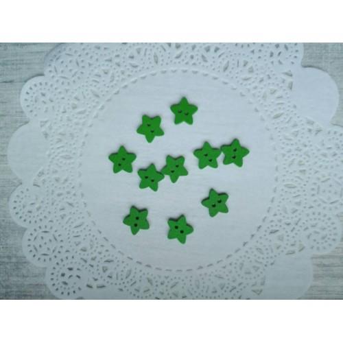 Деревянная пуговица Звездочка зеленая 13 мм фото