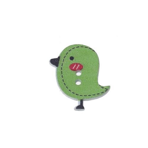 Деревянная пуговица Птенчик зеленый