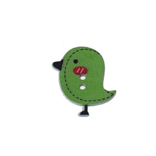 Деревянная пуговица Птенчик темно-зеленый
