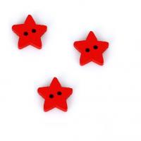 Деревянная пуговица Звездочка красная, 13 мм