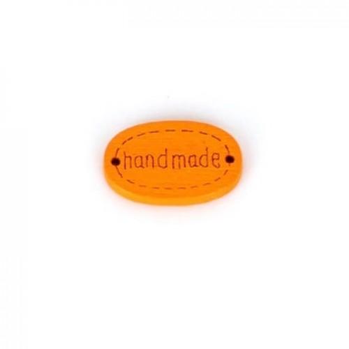Деревянная пуговица Handmade Оранжевая 12х18 мм фото
