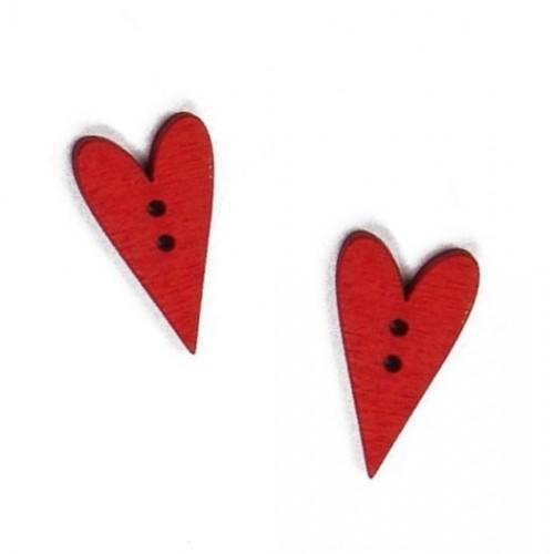 Пуговица деревянная Сердечко красное, 2.5х1.5 см