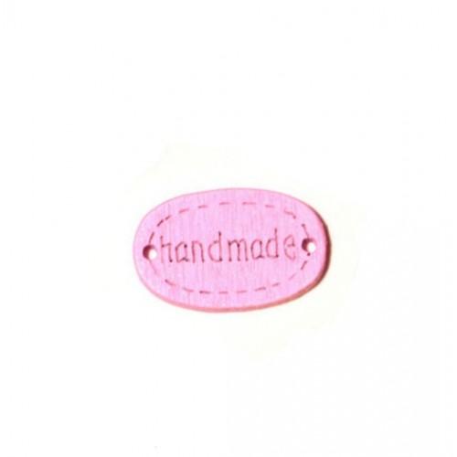 Деревянная пуговица Handmade Розовая 12х18 мм фото