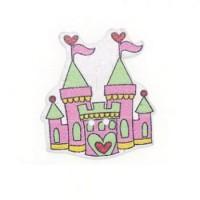 Деревянная пуговица Замок розовый, 3х2.5 см