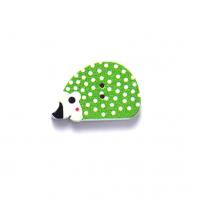 Деревянная пуговица Ежик зеленый