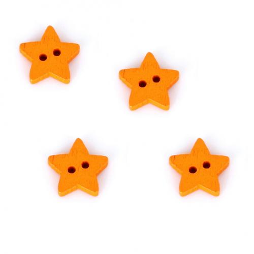 Деревянная пуговица Звездочка оранжевая, 13 мм