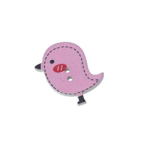 Деревянная пуговица Птенчик розовый
