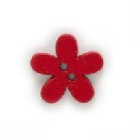 Деревянная пуговица Цветочек красный, 15 мм
