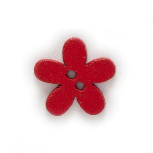 Деревянная пуговица Цветочек красный 15 мм фото