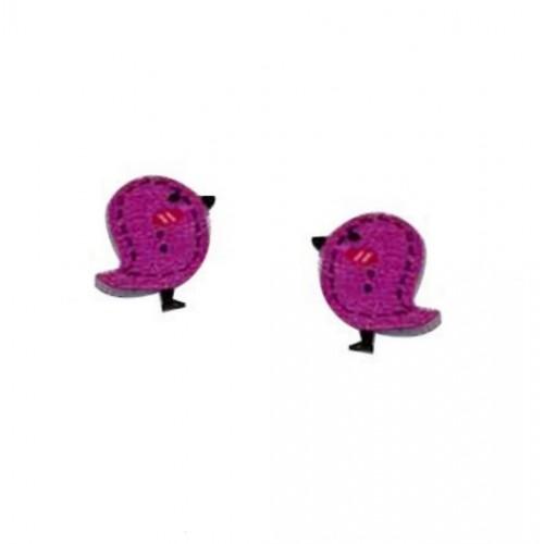 Деревянная пуговица Птенчик фиолетовый