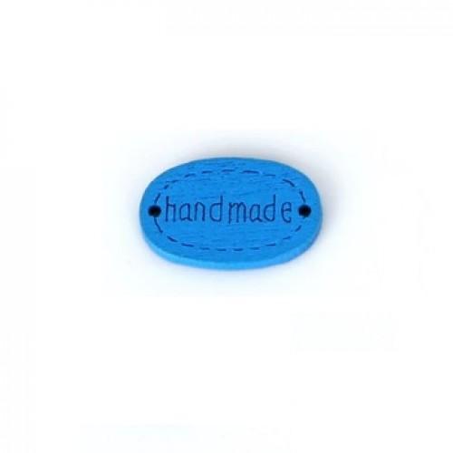 Деревянная пуговица Handmade Синяя 12х18 мм фото