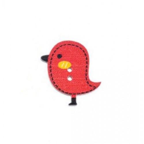 Деревянная пуговица Птенчик красный