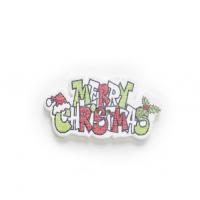 Пуговица деревянная Merry Christmas красная