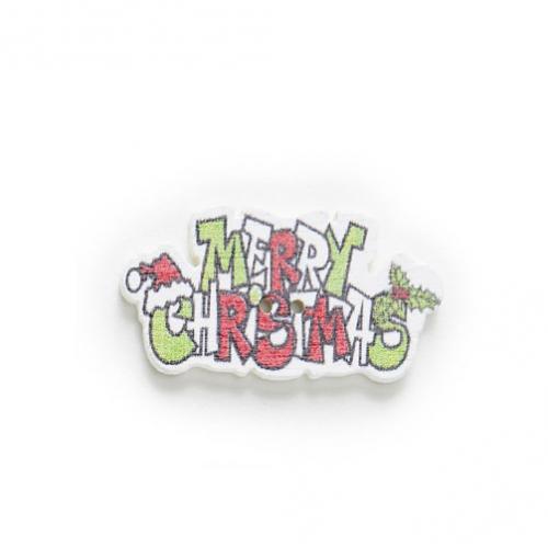 Пуговица деревянная Merry Christmas красная фото