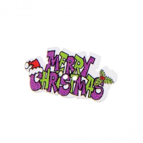 Пуговица деревянная Merry Christmas фиолетовая