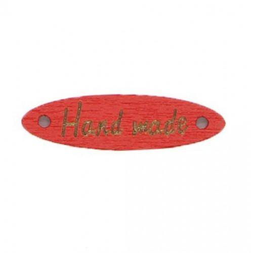 Деревянная пуговица длинная Handmade Красная, 28х7 мм