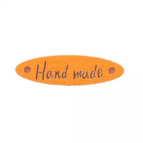 Деревянная пуговица длинная Handmade Оранжевая, 28х7 мм