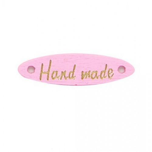 Деревянная пуговица длинная Handmade Розовая, 28х7 мм