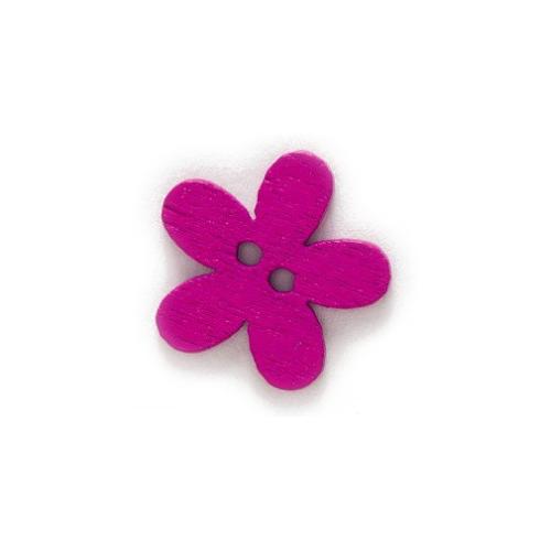 Деревянная пуговица Цветочек малиновый, 15 мм