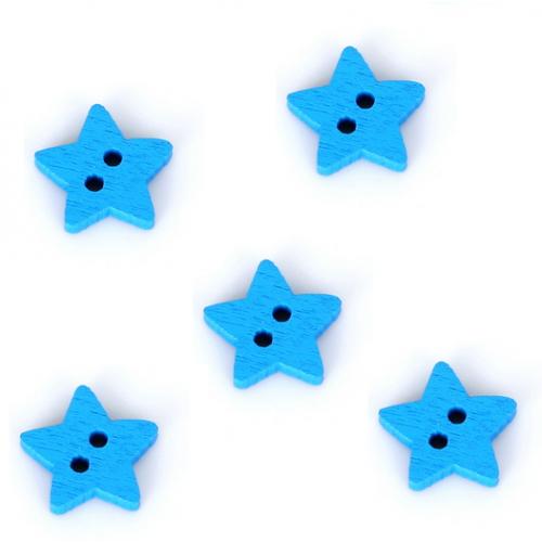 Деревянная пуговица Звездочка синяя, 13 мм