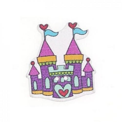 Деревянная пуговица Замок фиолетовый, 3х2.5 см