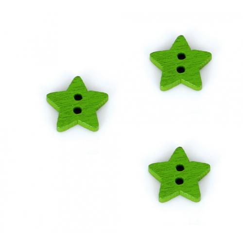 Деревянная пуговица Звездочка зеленая, 13 мм