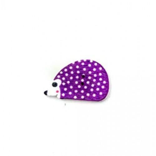Деревянная пуговица Ежик фиолетовый