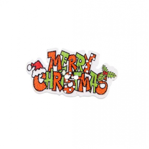 Пуговица деревянная Merry Christmas оранжевая