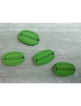 Деревянная пуговица Handmade Зеленая, 12х18 мм