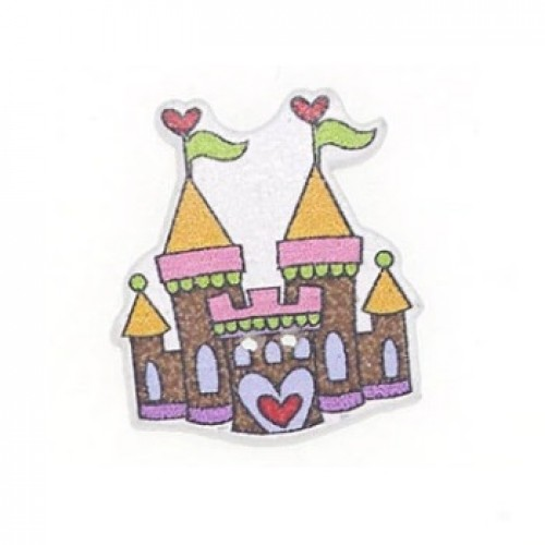 Деревянная пуговица Замок коричневый, 3х2.5 см