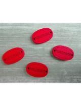 Деревянная пуговица Handmade Красная, 12х18 мм