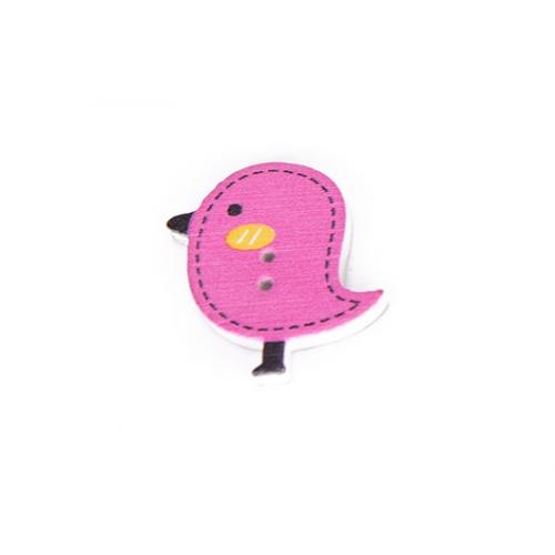 Деревянная пуговица Птенчик малиновый