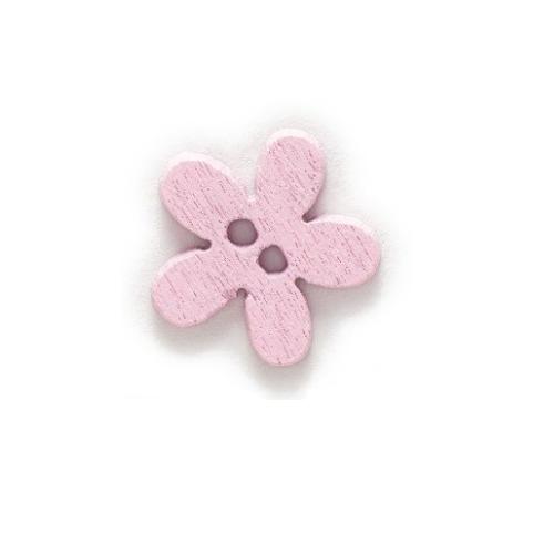 Деревянная пуговица Цветочек розовый 15 мм фото