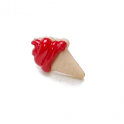 Пуговица Мороженое красное 21*13 мм фото
