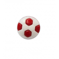 Пуговица Футбольный мяч красный, 10 мм