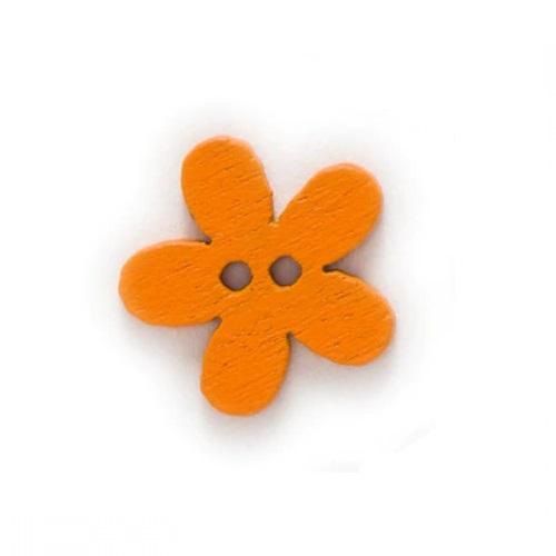 Деревянная пуговица Цветочек оранжевый, 15 мм