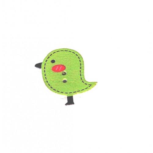 Деревянная пуговица Птенчик светло-зеленый
