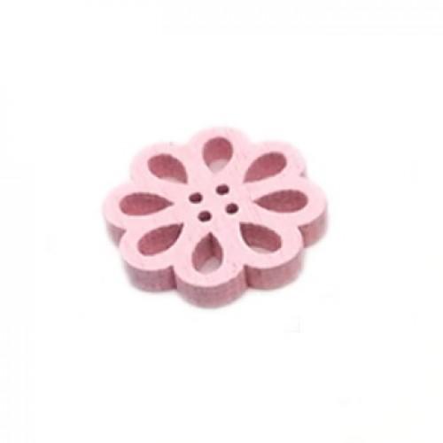 Деревянная пуговица Цветок розовый