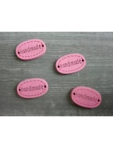 Деревянная пуговица Handmade Розовая, 12х18 мм