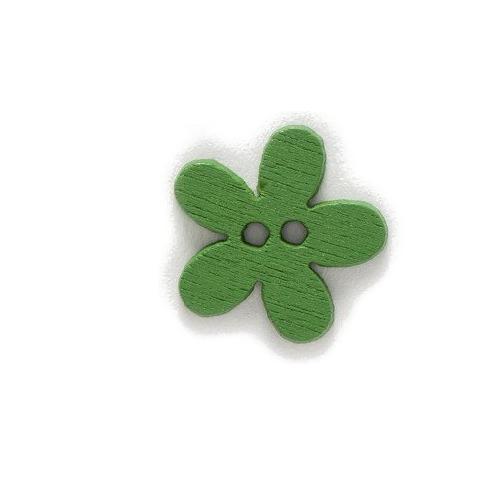 Деревянная пуговица Цветочек зеленый 15 мм фото