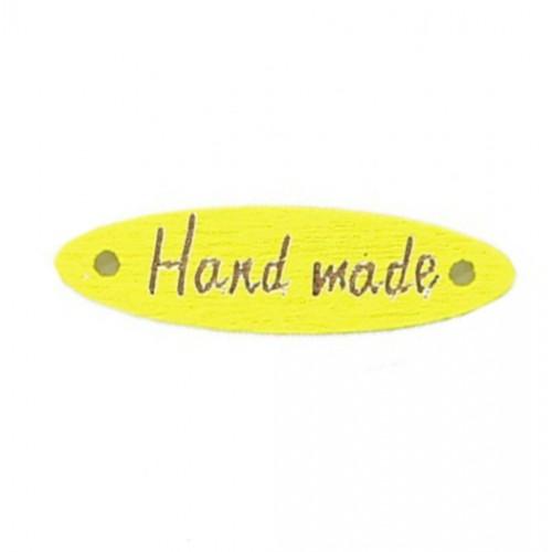 Деревянная пуговица длинная Handmade Желтая, 28х7 мм