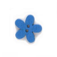 Деревянная пуговица Цветочек синий, 15 мм