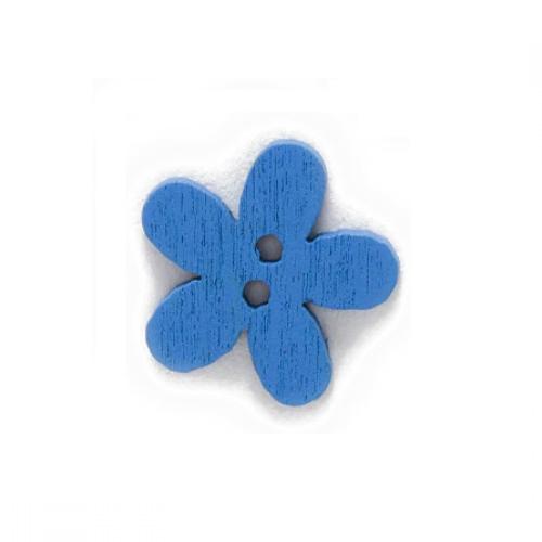 Деревянная пуговица Цветочек синий 15 мм фото